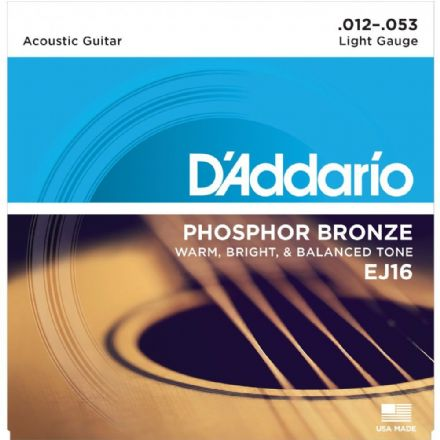 D'addario EJ16 Phosphor Bronze 12-53 Acoustic Guitar Strings